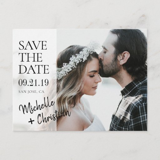 Elegant Chic Photo Wedding Save the Date Custom Announcement Postcard