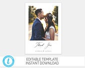 Wedding Photo Thank You Card Custom Thank You Card Editable Template Wedding Thank You Card With Photo Edit Yourself DIY Thank You Templett