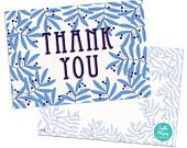 Pack of 10 Thank You Postcards with Brown Kraft Envelopes Blue Leaves