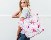 Personalised Large Beach Tote Bag Pink Floral Tote Bag Bridesmaid Gift Birthday Gift Holiday Beach Bag Valentines Day Gift
