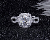2.00ct Cushion Cut Moissanite Engagement Ring, Twist Band, Available in White Gold or Platinum