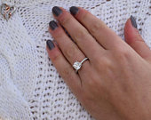 1.2 CT /7 mm/ Hidden Halo Moissanite Engagement in Solid Gold, Forever, Round Cut engagement Ring, Modern Engagement Ring.