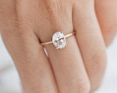10K Gold Oval Solitaire, 100% Natural Moissanite Stone, Engagement Solitaire Ring, Gold Solitaire Ring, Wedding Solitaire, Gift for Her