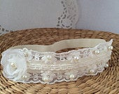 Baby lace tiara, hair band for baptism, christening, lace and pearl ivory flower headband