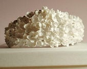 Handmade large all white floral and pearl wedding bridal crown tiara