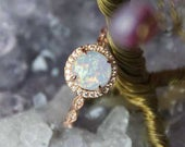 Womens Rose Gold Opal Ring, White Opal Rose Gold Ring Bridesmaid Round Rose Gold Ring Engagement Wedding Ring Gift For Her Mothers Day Gift