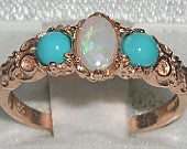 Solid 9K Rose Gold Natural Opal Turquoise Vintage Style Trilogy Engagement Ring Made in England Customize: 9K, 14K, 18K Gold