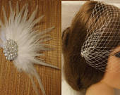 Bridal Birdcage veil,Blusher veil 9 French/Russian Net Veil.Whitevorybirdcage veil Bandeaue style Feather fascinator Crystal Pearl Jewel