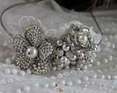 One off Vintage handmade silver, diamante, lace and pearl wedding tiara,Wedding hair band, handmade bridal hair comb, unique wedding crown