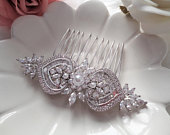 cubic zirconia wedding bridal wire hair comb silver with faux white pearls bridesmaid matching accessories available