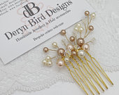 Bridal Gold Hair comb, Cream, Rose gold Peach Swarovski pearls and Clear AB crystals on Gold wire, small hair piece, Hair jewellery, UK