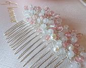 Rose Cherry Quartz Comb with Pearl Accents