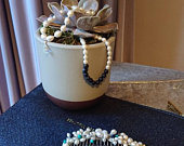 Bridal Comb Pearl, Turquoise and Blue Goldstone