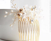Bridal hair comb, mother of pearl hair adornment, wedding hair comb, floral hair comb, pearl hair comb, pearl hair adornment