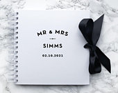 Personalised White, Black or Kraft Mr Mrs Wedding Guest Book with Contrast Satin Ribbon