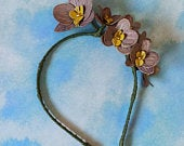 Flowers headband Orchids, Hair hoop with orchids. Hair accessories, Flower hair hoop, Purple made of leather. Wedding accessories Orchids