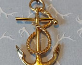 Vintage Anchor and Rope Pendant with Chain, Anchor Necklace, Sailor Necklace, Gold tone Necklace, Anchor and Chain, Mariners Necklace