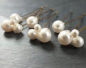 Pearl hairpins, 3 pearl clusters and 3 single pearl hair grips for bridal hair. set of six bobby pins.