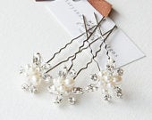 Set of 3 freshwater pearl and crystal rhinestone hairpins, bridal hairpins, pearl hairpins, wedding hair pins