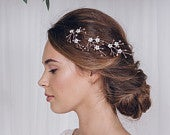 Pearl flower bridal hair pins, floral pearl wedding hair pin set, Rose gold Silver or Gold hair pin trio Coralie