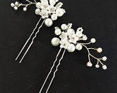 Set of 2 White Pearl Bridal Hair Pin Wedding Accessory in Gold or Silver, Gift Boxed, Bride, Bridesmaid, Jewellery, Mother of the