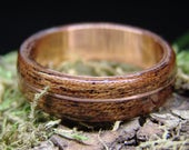 Sapele Bentwood Ring with Delicate Offset Copper Inlay Wedding Band Alternative Engagement Ring 5th Anniversary Gift Custom made
