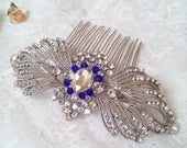 Big sapphire crystal hair comb, Victorian silver hair comb, Vintage inspired amethyst blue wedding hair comb, Victorian sapphire hair 23