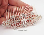 Decorative Hair Comb, Rose Gold Crystal Hair Comb for Bride, Wedding Day Hair Comb, Large Rose Gold Crystal and Rhinestone Hair Comb
