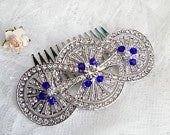 Big royal blue crystal hair comb, Sparkly crystals Edwardian silver hair comb, Vintage inspired 1930s wedding sapphire wedding hair comb 6