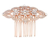 deco rose gold gatsby hair comb for brides, bridesmaids, prom, party headpiece. silver cz bridal hair comb, crystal rose gold vintage comb