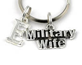 Military Wife Key Ring, Personalized Military Themed Keychain, Military Keyring, Initial Keychain, For Spouse, Army Wife, Valentines Gift