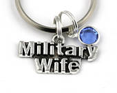 Military Wife Key Ring, Military Themed Keychain With Birthstone Or Pearl, Military Keyring, Gift For Spouse, Army Wife, Valentines Gift