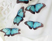 Turquoise Silk Butterfly Brooches. Beautiful Butterfly Brooches for Special Occasions or Gifts.