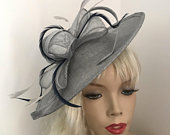 Fascinator Hat silver Grey Navy Saucer headpiece on hairband, Wedding Hat, Gray Hat for the races, Mother of the bride