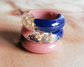 Handmade gold, pink and navy blue resin ring, stackable ring, choose between 8 sizes, women ring