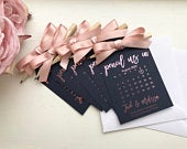 Navy foil pencil us in, calender tag, ribbon save the date, rose gold, silver, gold,