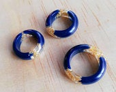 Handmade navy blue and gold resin ring, women ring, stackable ring