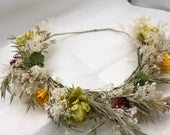 Dried Flower Crown Succulent and Hops Wedding Flowers Festival Flower Crown Rustic Wedding Brides Flower Crown