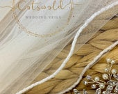 43 Beaded Edge Wedding Veil Soft Tulle Wedding Veil with glass beaded edge, Ivory, 43inches, 110cm, Fingertip, Length, Beautiful Veil