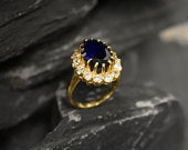 Gold Sapphire Ring, Created Blue Sapphire, Princess Di Ring, Gold Victorian Ring, Royal Blue Ring, Promise Ring, Anniversary Ring, Sapphire