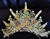 Exquisite handpainted Fantasy Steampunk Faery Woodland Glade Tiara Alice Band with mayfly, butterfly, foliage faux rock crystals