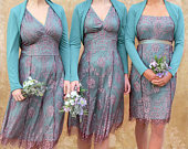 Bespoke Vintage Style Bridesmaid Dresses in Pink and Aqua Lace