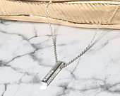 21mm 3D Sterling Silver Personalised Solid Vertical Bar Pendant Necklace, Name, Date, Gift, Birthday, Mothers Day, Wedding, Childs Name,
