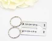 Couples Keychain, 10th Anniversary, Couples Gift Idea, Custom Wedding Gift, Personalised KeyRing, His and Her Set, Custom Couples Keyring,