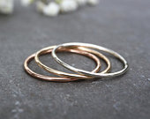 9ct Solid Gold Ring 1mm, 1.2mm Thin Wedding Band 100% Recycled Gold Skinny White Gold Rose Gold Ring, Yellow Gold Ring The Ivy Bee