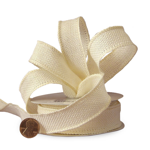 """7/8"""" X 10 Yards Jute Colored Ivory Faux Burlap Ribbon by Ribbons.com"""