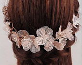 Gold floral bridal headband and hairvine Boho bride bohemian bride, prom hair accessories, bridemaids headpiece