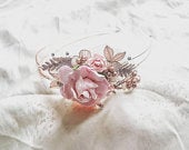 Blush Pink Rose Gold Rose Lace Pearl Diamante Floral Wedding Party HeadBand Fascinator