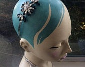 Last one Silver and Black Vintage Art Deco 1920s Style Flower Hair Tiara By Jenny Packham No 1