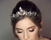 Silver Leaf Tiara made with vintage recycled silver tone metal jewellery elvish LARP Queen alternative bridal woodland wedding